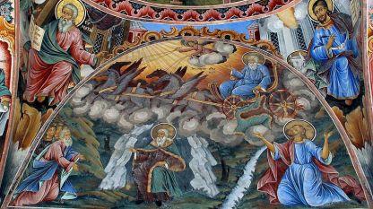 Rila Manastırında Az. İlyas'ı tasvir eden bir duvar resim çalışması
