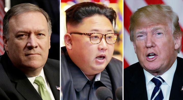 Според US медии визитата на шефа на ЦРУ Майк Помпейо (вляво) в Пхенян целяла да подготви срещата между Доналд Тръмп (вдясно) и Ким Чен-ун (в средата).