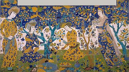Персийска градина, изобразена върху керамични плочки, 17 век, Метрополитън музей, Ню Йорк