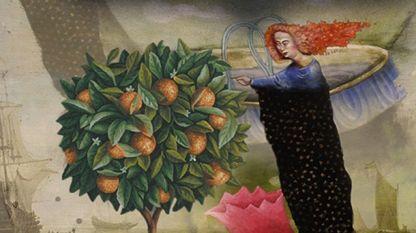 """Част от корицата на книгата  """"Малката светица и портокалите"""""""