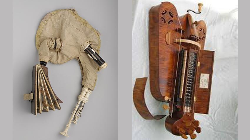 Музикалните инструменти мюзет (вляво) и хърди-гърди