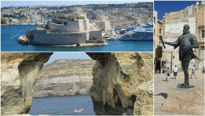 """Бастионите на Ла Валета, """"Окото"""" на остров Гозо и паметника на   основателят Жан дьо Ла Валет"""