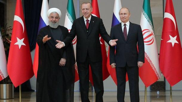 Хасан Рохани, Реджеп Едоган и Владимир Путин в Анкара (от ляво надясно)