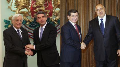 O ΠτΔ Ρόσεν Πλέβνελιεφ και ο πρωθυπουργός Μπόικο Μπορίσοφ με τους ομολόγους τους της Ελλάδας και της Τουρκίας
