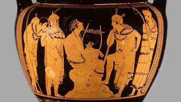 Изображение на митичния тракийски певец и музикант Орфей върху древногръцка ваза.