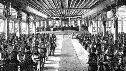 Открытие Учредительного собрания в Тырново, 1879 г. – гравюра