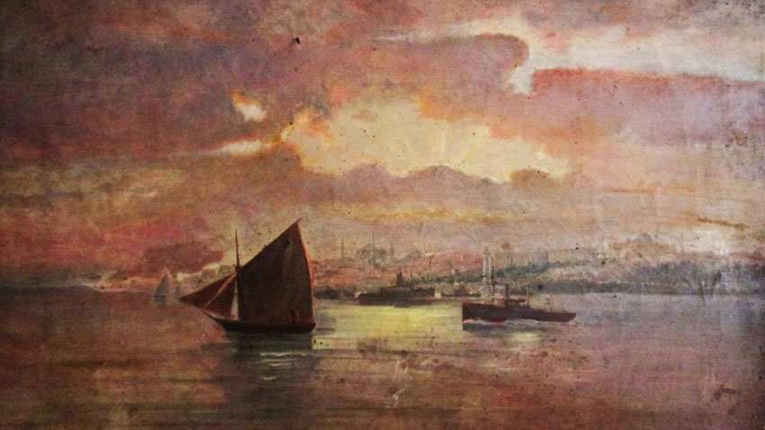 """Golden Horn in Constantinople"" painting by Dragan Tapkov, graduated from high school in Thessaloniki and later – fine arts in Rome"