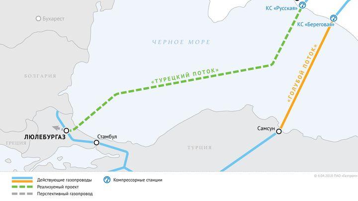 """Карта, съпътстваща съобщението на """"Газпром"""" за подписания протокол с Турция, в която не се посочва крайната дестинация на сухопътния участък на турска територия."""