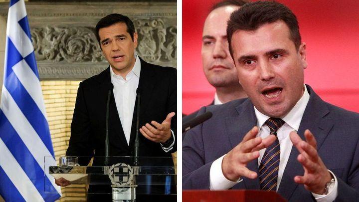 Премиерите на Гърция Алексис Ципрас и на Македония Зоран Заве обявяват на пресконференции в Атина и Скопие постигнатата договореност за името на Македония-