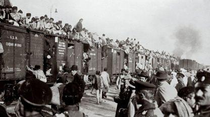София - Централна гара, заминаване на войска към фронта след обявяването на Балканската война, 1912 г.
