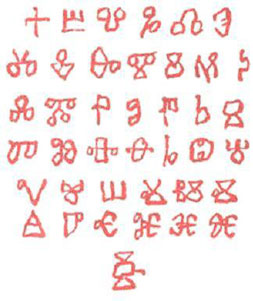 Glagolitsa - the first Bulgarian and Slavic alphabet.