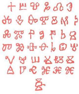 Glagolitsa - the first Bulgarian and Slavic alphabet.