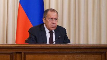 Руският външен министър Сергей Лавров по време на пресконференцията в Москва в понеделник.