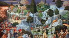 Фрагмент от една от фреските на Беноцо Гоцоли в параклиса на влъхвите