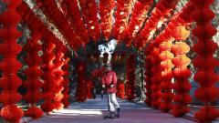 """Новогодишна украса в парк """"Дитан"""", Пекин."""