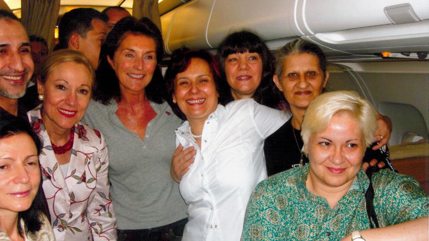 Las enfermeas búlgaras con Cecilia Sarcozy, la que intervino en su liberación