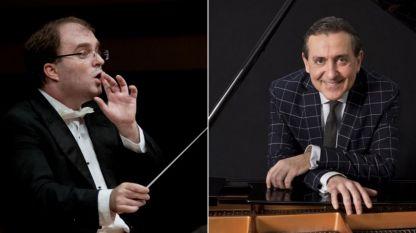Диригентът Найден Тодоров (вляво) и пианистът Людмил Ангелов