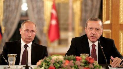 Владимир Путин и Реджеп Тайип Ердоган на една от срещите им.