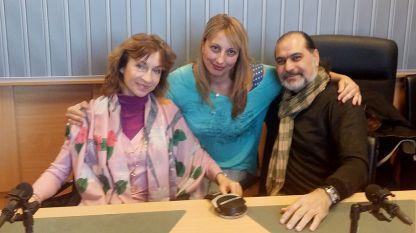 """Дарина Янева, Мария Христова и Андрей Янев (отляво надясно) в студиото на """"Нашият ден""""."""