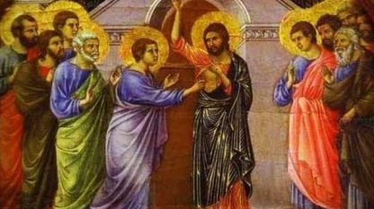 Apostulli Thomai vë gisht te plagat e Krishtit