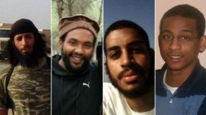 """Джихадистката група от британски граждани, наричана """"Бийтълс"""" - Мохамед Емуази, Ейн Дейвис, Алекзанда Коти и Ел Шафи Елшейх (от ляво на дясно)."""