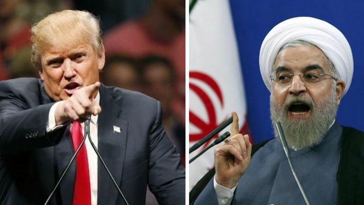 """Доналд Тръмп предупреди Хасан Рохани с тежки последствия, ако Иран продължи да заплашва САЩ с """"майката на всички войни""""."""