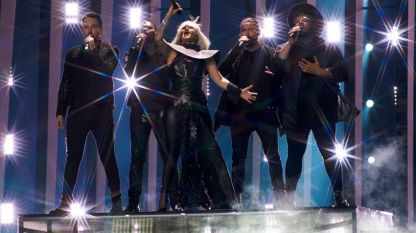Исполнение Equinox на первой репетиции к первому полуфиналу Eurovision в Лиссабоне, 30 апреля