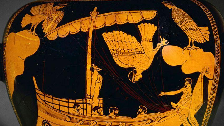 Одисей и сирените - изображение върху старогръцка ваза