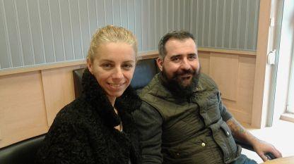 """Емилия Витанова и Александър Дерижан в студиото на програма """"Христо Ботев""""."""