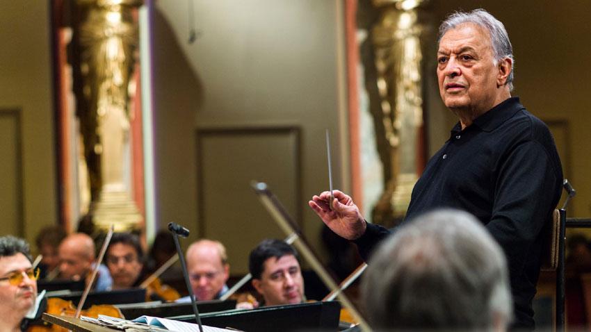 Зубин Мета по време на репетиция с Виенската филхармония за предстоящия концерт