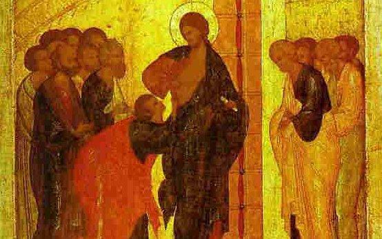 Уверението на ап. Тома. Икона от ок. 1500 г. Школата на Дионисий. Третяковската галерия в Москва.