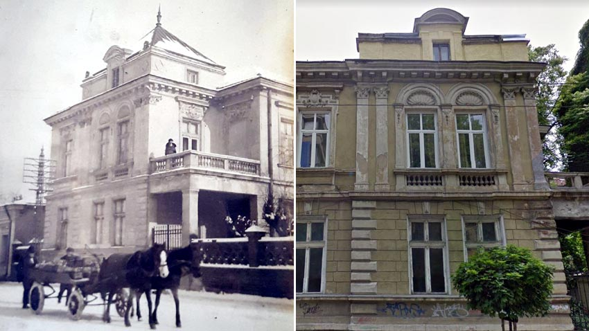 Hristo Popov's house in the past and now