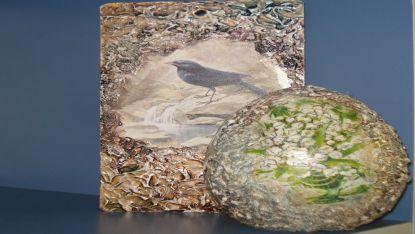 Керамично яйце и картичка,изработени с декупажна техника