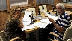 Актьорите Линда Русева и Дарчо Радев (Божидар Томов) по време на запис на предаването.