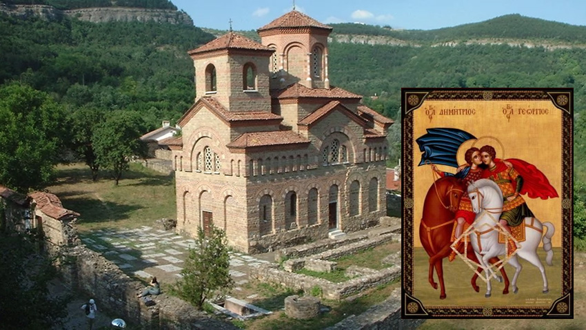 The Church of St. Dimitar Solunski in Veliko Tarnovo. On the small picture: an icon of St. Dimitar and St. George