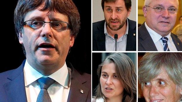 Карлес Пучдемон и четиримата министри от неговото правителство, които са в Белгия