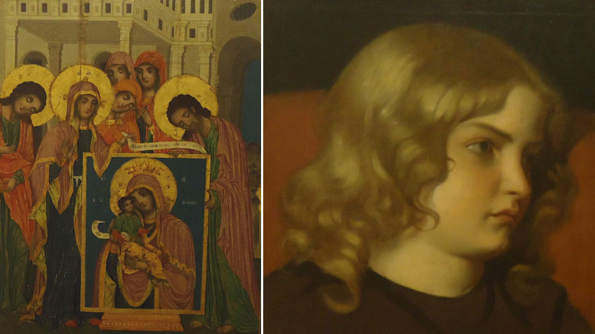 Zograf Damaskin from Elena – St. Licas presents the icon of the Holy Virgin(L); Nikolai Pavlovich – Portrait of a girl (R )