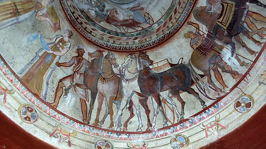 Frescoes from the Thracian toumb in Kazanlak