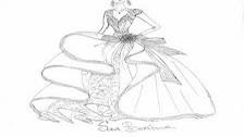 Скицата на фантастичната рокля  за Нанси
