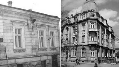 The Rodno Radio building in Benkovski St. where the first broadcasts started (left) and a later building in Moskovska St. (right).