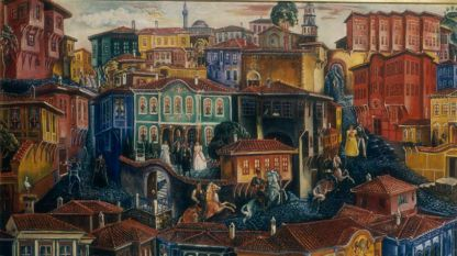 Цанко Лавренов (1896 – 1978 г.), Старият Пловдив, 30-те г. на ХХ в. (фрагмент), 34 х 26 см, НХГ