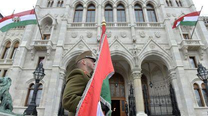 Момент от честванията на националния празник на Унгария по случай годишнина от избухването на Унгарската революция през 1956 г., пред сградата на парламента в Будапеща, 2014 г.