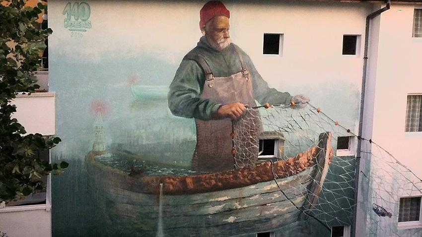 """Графитът """"Рибарят """" на Иво Илиев и Венцислав Йосифов."""
