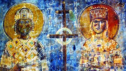 Св. св. Константин и Елена - детайл от стенопис в църквата