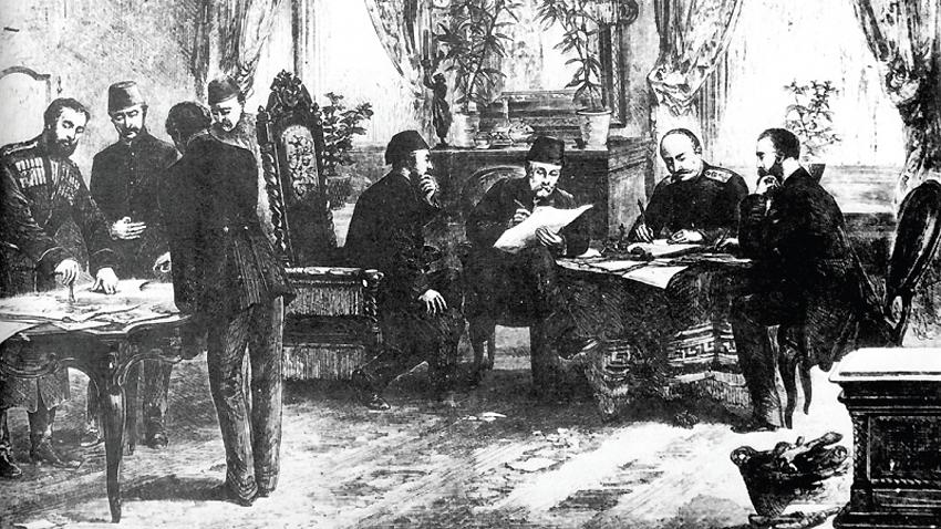 Потписивање Санстефанског мировног уговора 3. марта (19. фебруара, по Јулијанском календару) 1878. г.