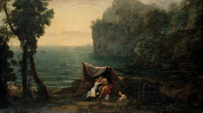 """Фрагмент от """"Пейзаж с Акис и Галатея"""" на Клод Лорен"""