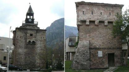 Кулата на Мешчиите (вляво) и Куртпашовата кула във Враца