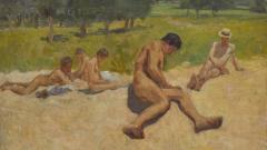 "Станю Стаматов (1886 - 1963), ""Семейството на художника на нудистки плаж"", 1921"