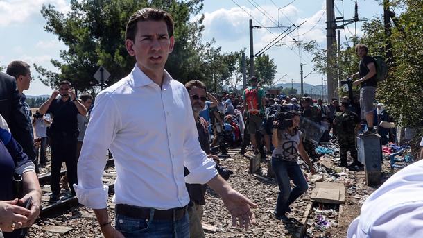 Себастиан Курц на гръцко-македонската граница по време на мигрантската криза 2015 г.