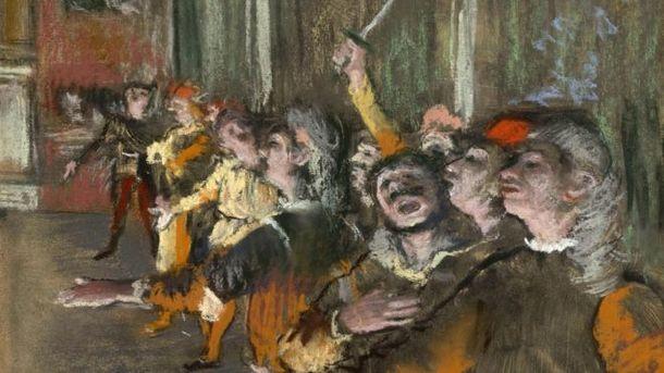 """Пастелната картина """"Хористите"""" с размери 32 см на 27 см е рисувана през 1877 г."""